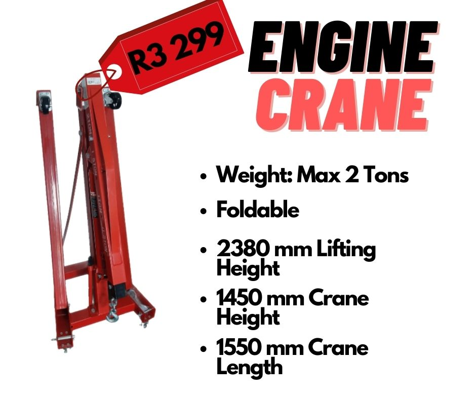 RED 2380 MM LIFTING HEIGHT 2 TON ENGINE CRANE
